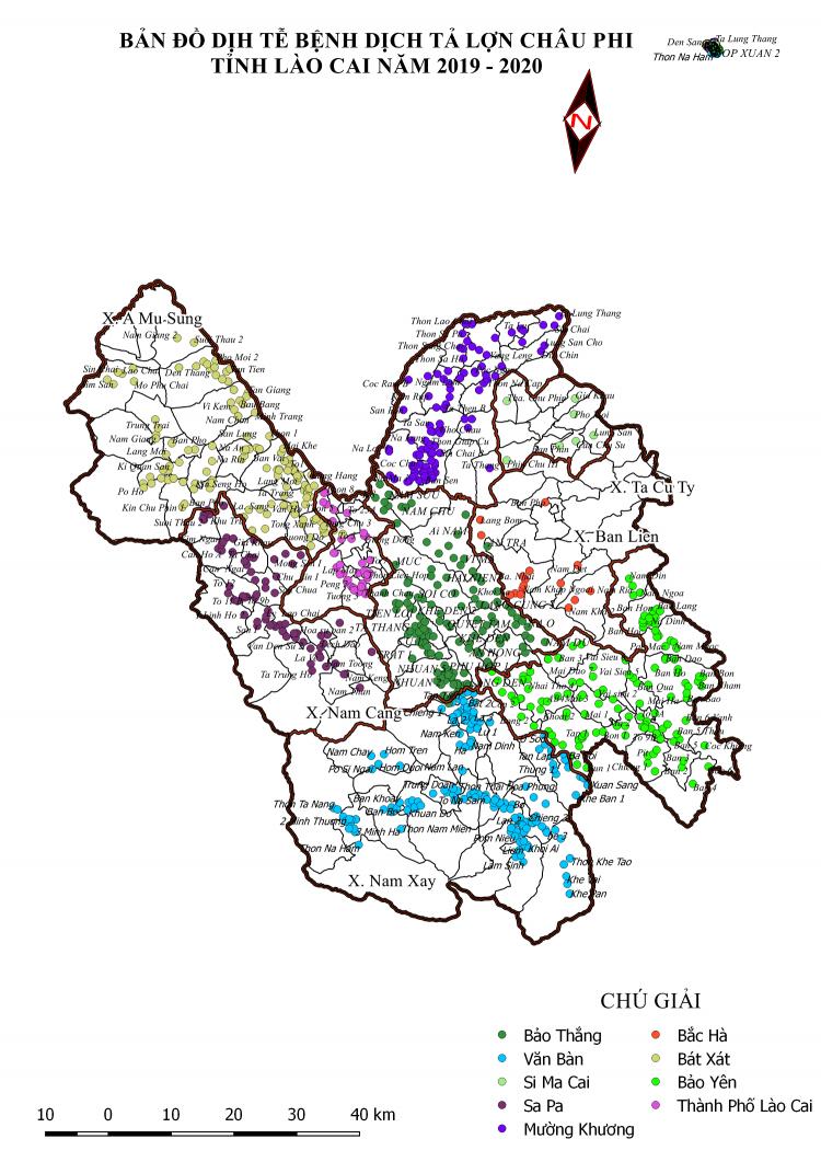 Bản đồ dich tễ bệnh Dịch tả Lợn Châu Phi trên địa bàn tỉnh Lào Cai Năm 2019 và năm 2020